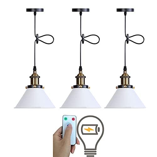 3-Light Battery Operated Pendant Light Fixtures