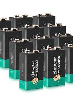 Enegitech 9V Batteries 12Packs Non-Rechargeable Lithium