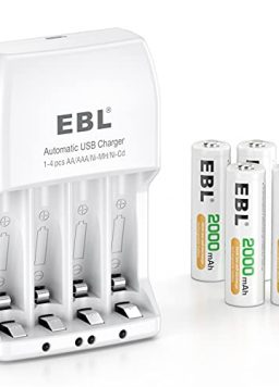 EBL Updated Independent Battery Charger with 4 Pack