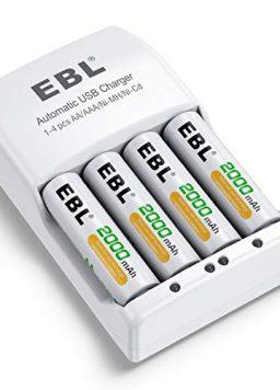 EBL 4 Pack AA Rechargeable Batteries 2000mAh