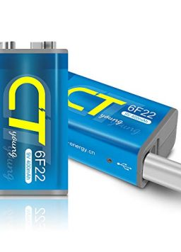 USB Rechargeable 9V Batteries with Micro USB Charging Port