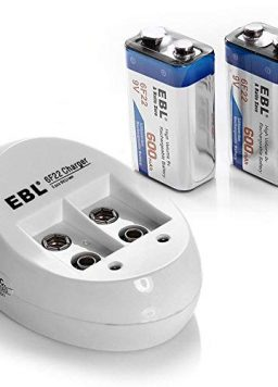 9V Rechargeable Batteries and Battery Charger