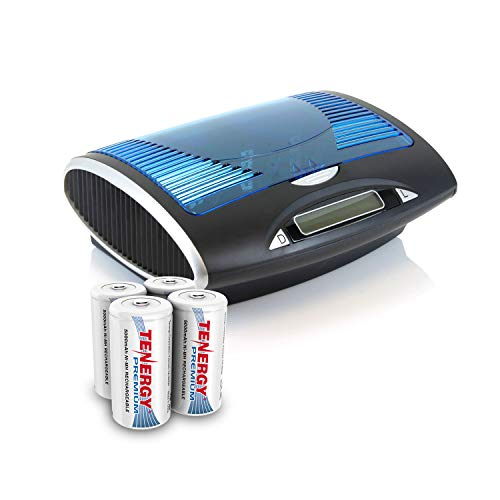 Tenergy Premium Rechargeable C Batteries and LCD Smart Battery