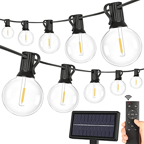 2-Pack Solar G40 Dimmable String Lights with Remote Controls
