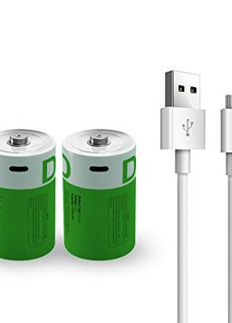 Rechargeable D Battery 1.5V 12000mWh D Cell with USB C Cable