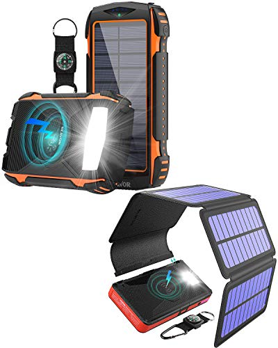 Two Packs-20,000 Wireless Solar Phone Charger Plus