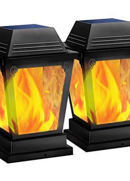 TomCare Solar Post Lights Metal Flickering Flame