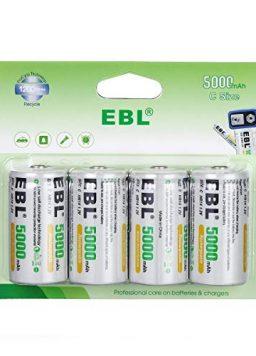 EBL Rechargeable C Batteries, 5000mAh Ni-MH High Capacity