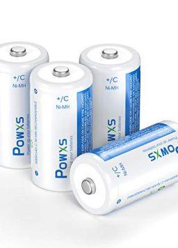 POWXS Rechargeable C Cell Batteries