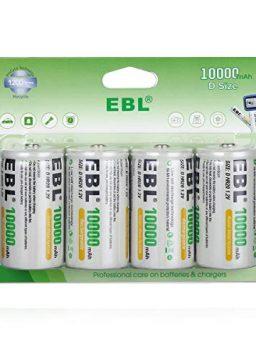 EBL Rechargeable D Batteries, 10000mAh Ni-MH High Capacity