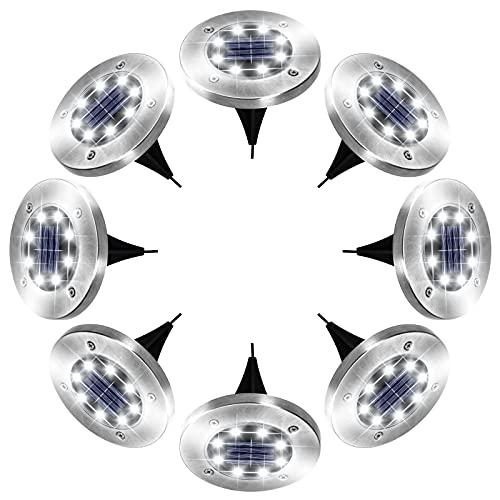 Solar Lights Outdoor, 8 LED Solar Garden Lights