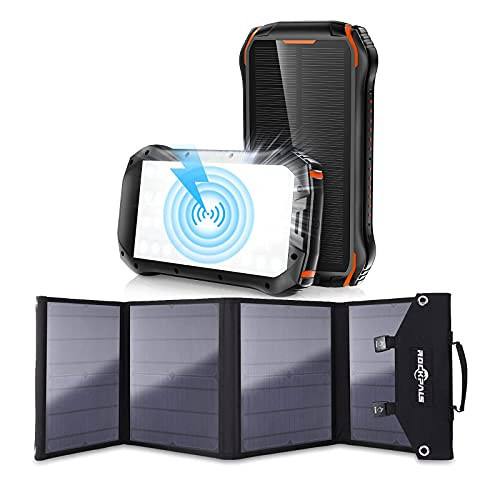 ROCKPALS SP003 100W Foldable Solar Panel and Solar Power Bank