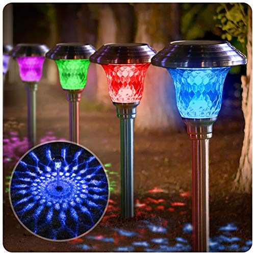 BEAU JARDIN 8 Pack Solar Lights with 7 Color Changing