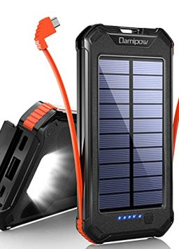 Solar Charger 20000mAh Built-in USB B, Type C Cables