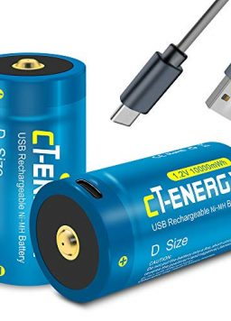 CT-ENERGY Rechargeable D Batteries Ni-MH 1.2V