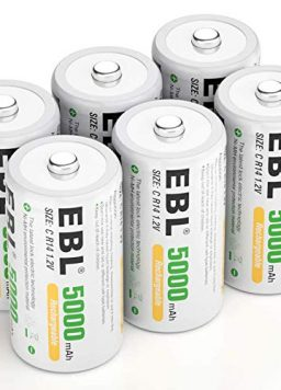 EBL Rechargeable C Batteries 5000mAh Ready2Charge