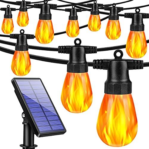 TomCare Solar String Lights Flickering Flame Solar Lights