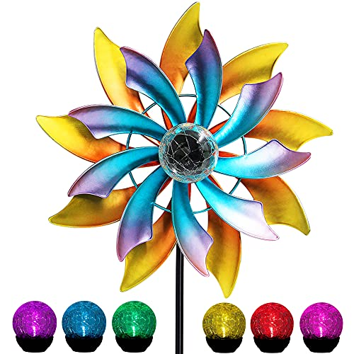 MAGGIFT 57 Inch Solar Wind Spinner with Metal Garden Stake