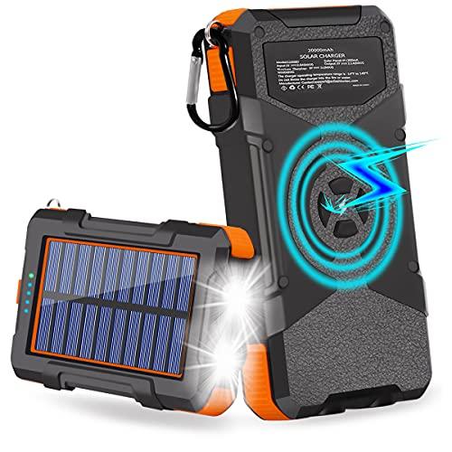 Solar Charger 20000mAh, Qi Wireless Solar Power Bank