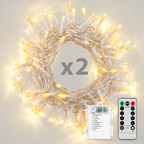 Koxly String Lights, 2 Pack Battery Operated String Lights