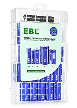 EBL Battery Organizer Storage Box Include Alkaline Batteries Combo