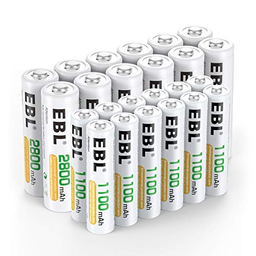 EBL 24 Sets AA AAA Batteries Combo with 12-Pack