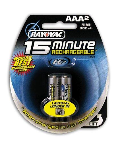 Rayovac I-C3 15 Minute NiMH AAA Size Carded