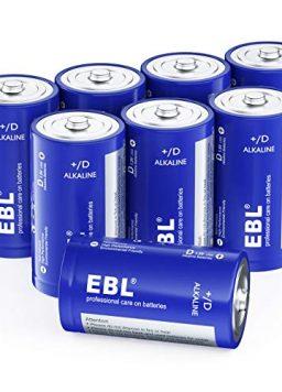 EBL D Batteries, Alkaline D Cell Batteries 8 Battery Count