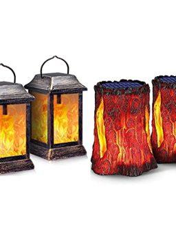 TomCare Flickering Flame Solar Lantern Outdoor