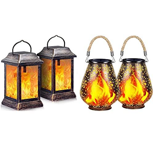 TomCare Solar Lights Outdoor Flickering Flame