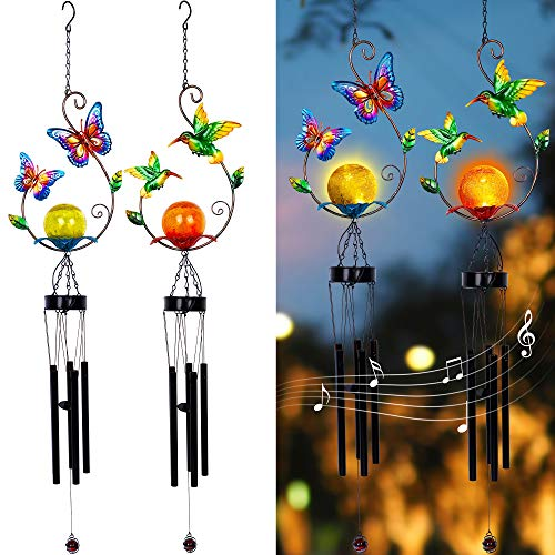 MAGGIFT 2 Pack Solar Outdoor Wind Chimes