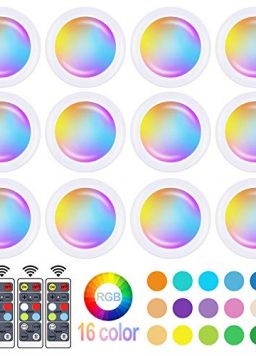 16 Color Changing LED Puck Light Remote Control Dimmer & Timing Function