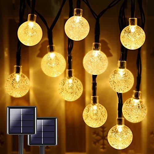 Extra-Long 2-Pack 160 LED 46FT Crystal Globe Solar String Lights Outdoor