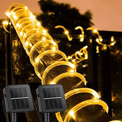 Solar Rope String Lights Outdoor 2 Pack 39 Feet 100 Led