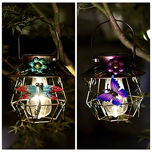 2 Pack Solar Lanterns Outdoor Hanging Solar Lights Decorative