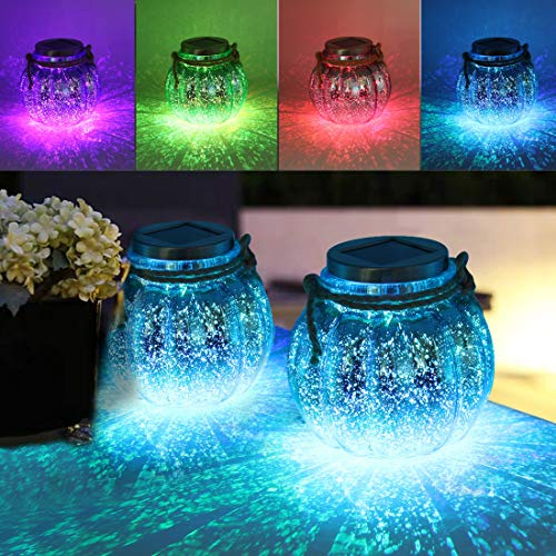 MAGGIFT 2 Pack Solar Lanterns Outdoor Christmas Table Decorations