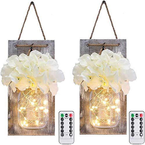 Rustic Hanging Battery Powered Jar Sconce with LED
