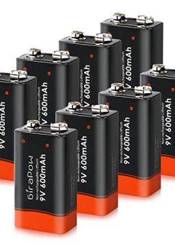 Girapow 9V Lithium Batteries, 8-Count 600mAh 9 Volt