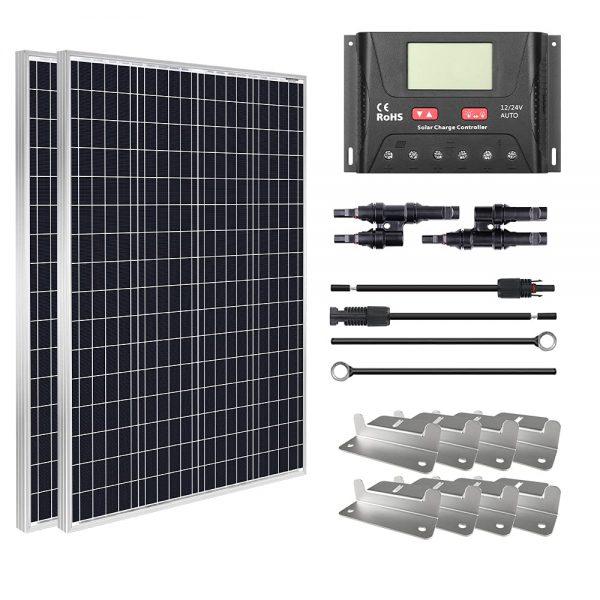 HQST 200W 12V Monocrystalline Solar Panel Kit
