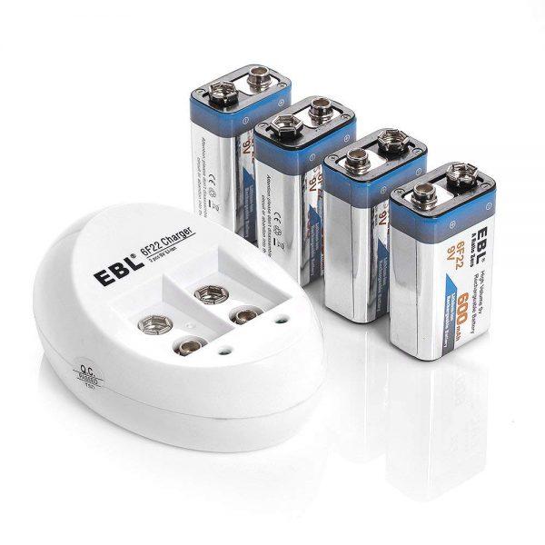 EBL 4-Pack 9V Batteries Li-ion with 840 9V Battery Charger