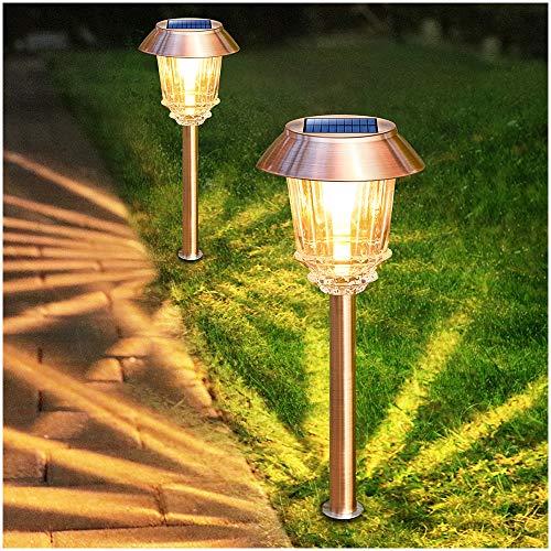 Solar Garden Lights Outdoor Pathway Lights Glass