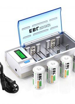 EBL D Cells 10000mAh Rechargeable Batteries