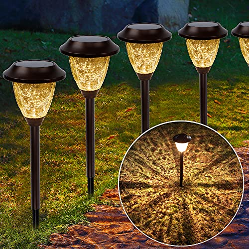 MAGGIFT 6 Pack Solar Powered Pathway Lights