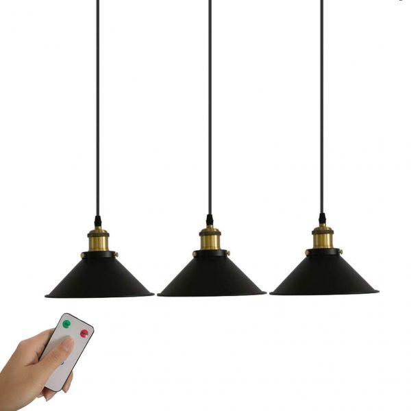 3 Pack Industrial Black Pendant Light Fixture