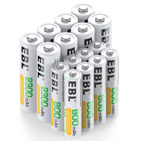 EBL 16 Sets AA AAA Batteries Combo with 8PCS