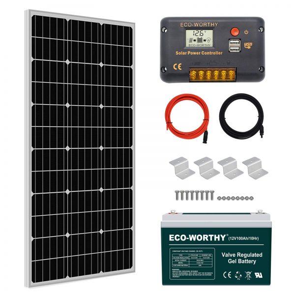 ECO-WORTHY 100W 0.4KWH/Day 12V Off Grid Solar Power