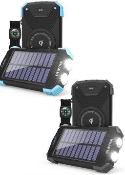 10,000mAh Solar Phone Charger with Dual Flashlight Set