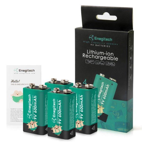Enegitech 9V Rechargeable Lithium Batteries