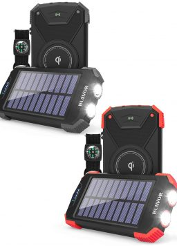 10,000mAh Solar Phone Charger with Dual Flashlight