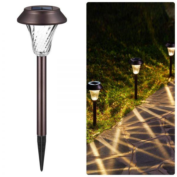Brightown 8 Pack Garden Pathway Solar Lights Stainless Steel